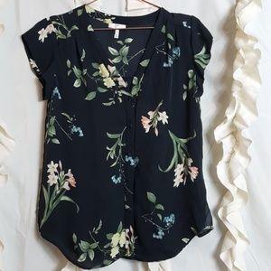 Joie floral print silk short sleeve button up top